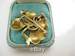 Estate 14k Y Gold 4 Leaf Clover Seed Pearl. 25 Ct Diamond Pin Pendant Shamrock