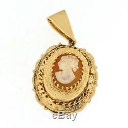 Estate 14k Yellow Gold Shell Cameo 1820s Antique Victorian Necklace Pendant