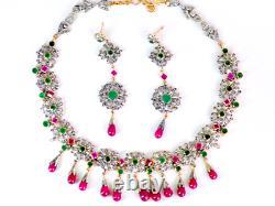 Estate 14kt 91 Carats Emerald Ruby Diamond Victorian Necklace