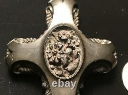 Estate 1800's Antique Victorian Black Mourning Sailors Cross HandCarved Pendant