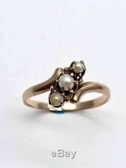 Estate 1870s Antique Victorian Seed Pearl 14k Solid Rose Gold Ring Vintage