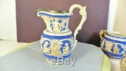 Estate 3 Charles Meigh 1852 Staffordshire Bisque Glaze Blue/ White-Super RARE