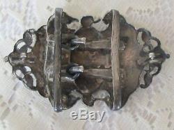 Estate ANTIQUE Edwardian Victorian Silver & Blue Enamel Button & BUCKLE Set H2