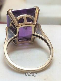 Estate Antique 10k Gold Purple Amethyst Ring Gemstone Victorian Engagement