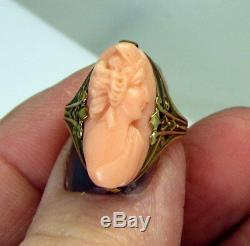 Estate Antique 14K Gold Carved Peach Coral Elegant Cameo Victorian Lady Ring
