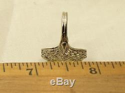Estate Antique 14K White Gold Chrysoberyl Filigree Ring A & S Signed Victorian