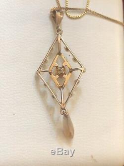 Estate Antique 14k Gold Diamond Pearl Lavalier Necklace Pendant Victorian Weddin