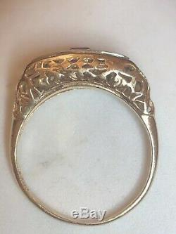 Estate Antique 14k Gold Diamond Ruby Ring Victorian Art Deco Wedding Band Signed