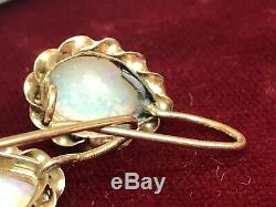 Estate Antique 14k Gold Natural Genuine Opal Earrings Victorian Wire 4 Tcw