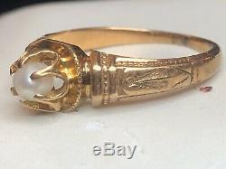 Estate Antique 14k Yellow Gold Victorian Ring Natural Pearl Engagement Wedding