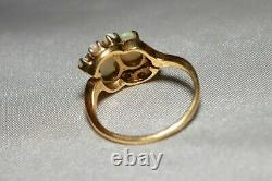 Estate Antique 1930's Ring 14K Gold Yellow Gold Opal Swirl Ring Free Ship