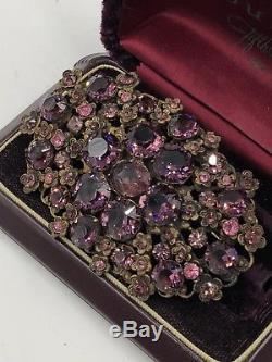 Estate Antique Brooch Art Nouveau Gorgeous Amethyst Crystals Victorian Lrg Brass
