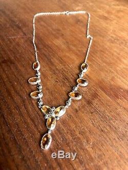 Estate Antique Sterling Genuine Citrine Marcasite Victorian Necklace
