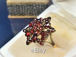 Estate Antique Victorian 10K Gold Rose Cut Bohemian Garnet Cluster Ring sz 8 1/2