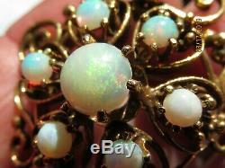 Estate Antique Victorian 14K Gold 100% Natural Australian Opal brooch