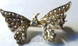 Estate Antique Victorian 14K Gold Diamond & Seed Pearl Butterfly Pin