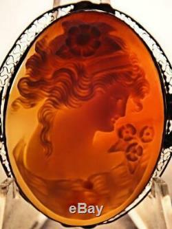 Estate Antique Victorian 14k Rose Gold Shell Cameo Brooch-pendant Flora