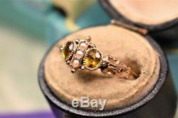 Estate Antique Victorian 14k yellow gold citrine & pearl ring sz 6.25
