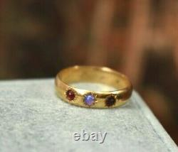 Estate Antique Victorian 18K gold opal garnet band ring sz 8 as is