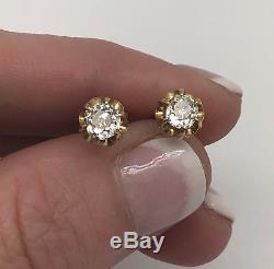 Estate Antique Victorian 18k Yellow Gold 1.00 CTW Diamond Stud Earrings
