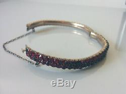 Estate Antique Victorian 2 Row Rose Cut Bohemian Garnet Hinged Bracelet