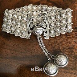 Estate Antique Victorian 800 Silver Etruscan Revival Fob Charm Repousse Bracelet