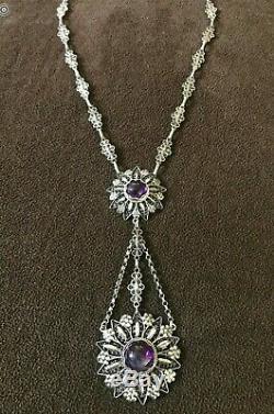 Estate Antique Victorian Cannetille STERLING Genuine AMETHYST Drop Necklace