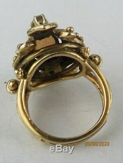 Estate Antique Victorian Edwardian 14k Yellow Gold Opal & Diamond ring