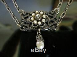 Estate Antique Victorian Edwardian Silver Link Filigree Drop Seed Pearl Necklace