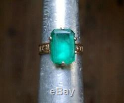 Estate Antique Victorian Emerald Cut Green Paste 10K Rose Gold Cocktail Ring 10k