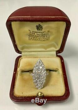Estate Antique Victorian Era 14k White Gold 3.00 CTW Diamond Engagement Ring