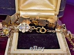 Estate Antique Victorian Gold Fill Opal Pearl Sliding Charm Bracelet
