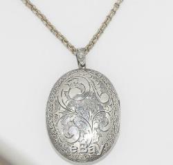 Estate Antique Victorian Large Etched Locket Pendant on 18 Rollo Chain Necklace