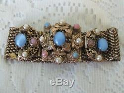 Estate Antique Victorian Mesh Gold Tone Blue Cabochon Faux Pearl Bracelet H7