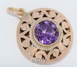 Estate Antique Victorian SOLID 14K Yellow Gold 2.50 ct NATURAL Amethyst Pendant