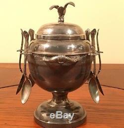 Estate Antique Victorian Silver Plate Sugar Bowl & 6 Spoon Caddy Bird Atop