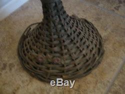 Estate Antique Victorian Wicker Barbola Rose Trumpet Floor Vase