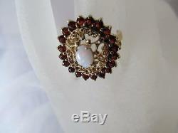 Estate Antique Vintage Victorian Bohemian Garnet-Opal Ring 1800's-1900