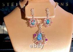 Estate Australian Black Red Opal Earrings Pendant SET Chain Rose Gold NWT