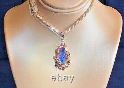 Estate Australian Black Red Opal Earrings Pendant SET Chain Rose Gold NWT $1,491