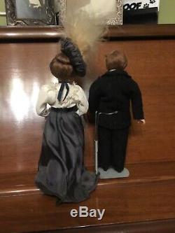 Estate Rare Antique Bisque Victorian Miniature Man Couple Dollhouse Dolls
