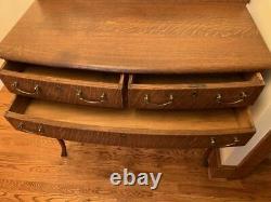 Estate Sale Antique QuarterSawn Tiger Oak Entry Hall Table 3 Drawer Bottom Shelf