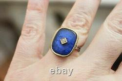 Estate Victorian 14 k Gold Blue Guilloche Enamel Diamond Ring sz 5.5