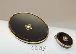 Estate Victorian 14k 18K SOLID Gold Onyx Seed Pearl Mourning Pin Brooch ANTIQUE