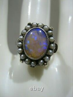 Estate Victorian 14k White Gold Opal And Seed Pearl Ring Size 7.5