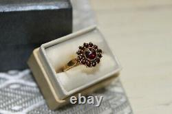 Estate Victorian 14k gold Rose Cut Garnet cluster Ring sz 6.5
