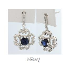 Estate Victorian 14kw Blue Sapphire Diamond Classic Vintage Earring #1399