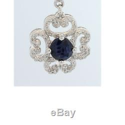 Estate Victorian 14kw Blue Sapphire Diamond Classic Vintage Earring #1399