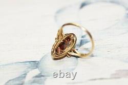 Estate Victorian 18 k Gold 3 stone Bohemian Garnet Ring sz 6