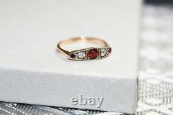 Estate Victorian 9 ct Rose Gold 5 stone White Topaz Spinel Tourmaline Ring sz 7